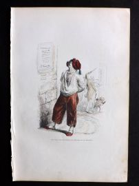 Grandville 1842 Hand Col Print. Dog looking at Political Poster